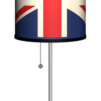 "Lamp-In-A-Box Travel Union Jack 20"" H Table Lamp with Drum Shade"