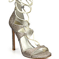 Stuart Weitzman - Lamé & Metallic Leather Lace-Up Sandals - Saks Fifth Avenue Mobile