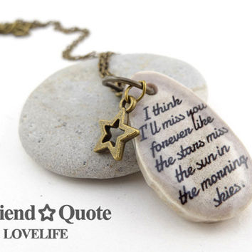 Best Friend Necklace Long Distance Friendship Jewelry Personalized Jewelry Moving Away Gift Going Away Gift Unique Bestfriend Jewelry