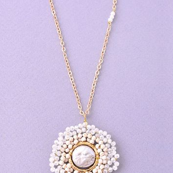Bead Wrapped Pendant Necklace