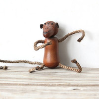 Wooden Mid Century Monkey Figure