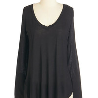 ModCloth Minimal Mid-length Long Sleeve Casual You Need Top in Black