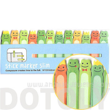 Small Frog Prince Illustrated Cute Memo Post-it Index Tab Sticky Bookmarks | Cute Animal Themed Affordable Stationery