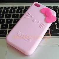 Hello Kitty Silicone Case Cover For iPhone 4 4G New P