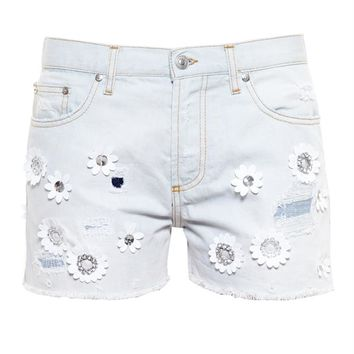 Denim Shorts with Floral Embroidery - MSGM