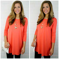 Heaven's Bliss Coral Quarter Sleeve Solid Dress