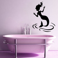 Mermaid Wall Decals Sea Ocean Girl Vinyl Decal Sticker Water Nymph Waves Spa Salon Home Interior Design Bathroom Kids Room Decor KG684