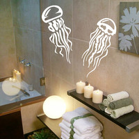 Jellyfish Wall Decals Sea Ocean Animals Bathroom Spa Decor Home Art Mural Vinyl Decal Sticker Kids Nursery Baby Room Interior Design KG685