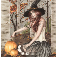 Happy Halloween Pumpkin Tree Leaves Autumn Art Print Glossy Emo Goth Witch Zindy Nielsen