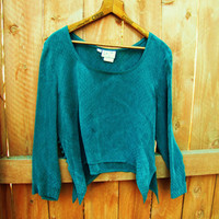 vintage emerald green 1990s cropped blouse. made by Wild Rose Sport. rayon. made in the USA. size S M L. fall fashion