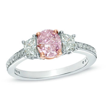 1-3/8 CT. T.W. Certified Oval Enhanced Pink Diamond Ring in Platinum and 18K Rose Gold (SI1)