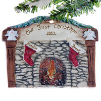 Family of 2 - stockings fireplace mantel personalized Christmas ornament - couples first Christmas ornament