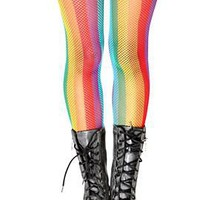 Rainbow Stripe Fishnet Tights - 171135