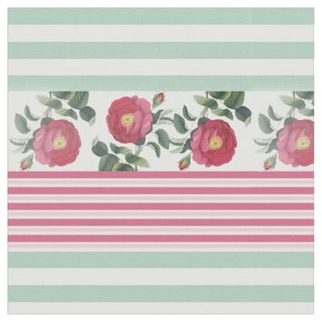 Cottage Chic Fabric with Old Roses and Stripes