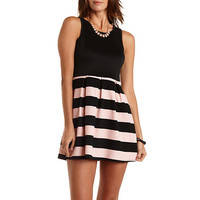 Striped & Pleated Skater Dress by Charlotte Russe - Black Combo