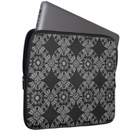 Classic Floral Motif Pattern Black and Gray