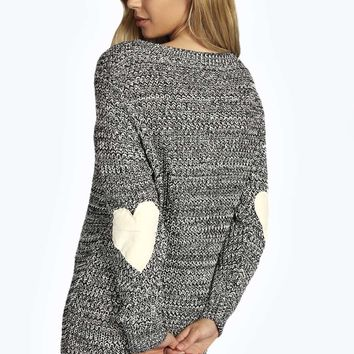 Yazmin Marl Knit Heart Elbow Patch Jumper Dress