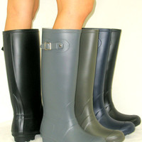 SO CUTE! Flat GALOSHES WELLIES RUBBER RAIN Boot Riding Hunter Style ALL SIZE