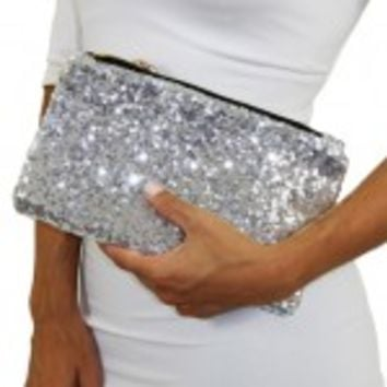 Silver Sequin Clutch