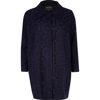 River Island Womens Navy floral embroidered coat