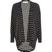 River Island Womens Black polka dot waterfall jersey jacket