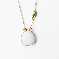 Moonstone Faceted Rose Cut Cushion and Pyrite Necklace