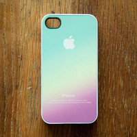 Pastel Color iPhone 4 Case iPhone 4S New Pink Aqua Apple Logo Gradient Ombre
