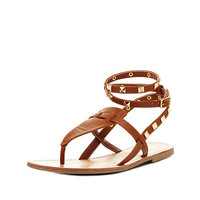 Studded Thong Gladiator Sandals by Charlotte Russe - Cognac