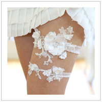 Satin blossom garter set - white beaded satin petals on embroidered lace - availalble in white, ivory and pale blue