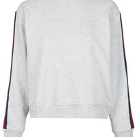 Striped Sleeve Sweat - Grey Marl