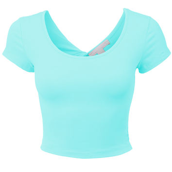 Womens Lightweight Open Back Scoop Neck Crop Top with Stretch