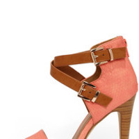 Latest and Greatest Salmon and Tan Snakeskin Ankle Strap Heels