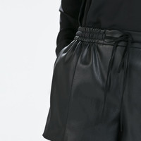 Faux leather tie-waist shorts