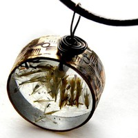 wheat clear resin vintage ring pendant  hangs on by bethtastic