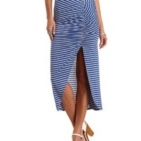 Striped Ruched Tulip Slit Maxi Skirt by Charlotte Russe - Blue Combo