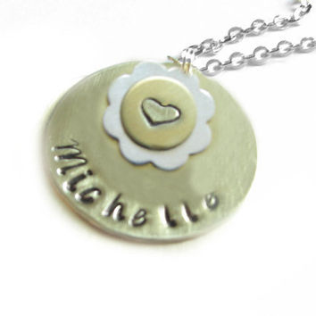 Flower Heart Necklace Hand stamped Name Initials Sterling Silver Chain Mixed Metal Jewelry Birthday Wedding anniversary