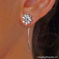 Long stem Daisy earrings - 925 Sterling silver earrings jewelry, studs, gift for girlfriend 091812