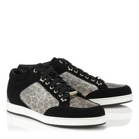 Champagne Leopard Print Glitter Fabric and Black Suede Low Top Sneakers | Miami | Cruise 15 | JIMMY CHOO Shoes