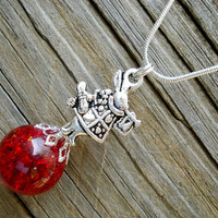 White Rabbit Wonderland Red Crackle Glass Marble Necklace