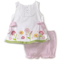 Hartstrings Baby-Girls Infant Sateen Top And Seersucker Short Set $44.00