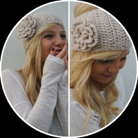 Crochet Flower Ear Warmer Headband in Linen Cream