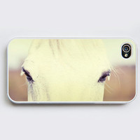 iPhone Case - White Horse - iPhone 4 Case, iPhone 4S Case - Photo Cell Phone Cover. horse eyes, animal photo
