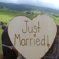 """Just Married"" Wood  9"" Sign"