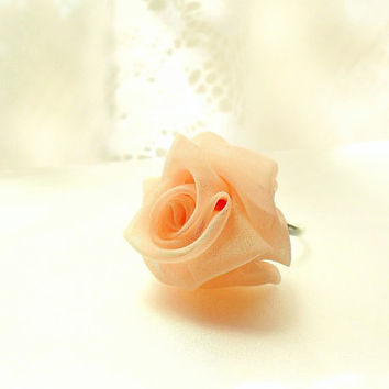 Light Orange Peach Chiffon Rose Ring Adjustable - Ready To Ship