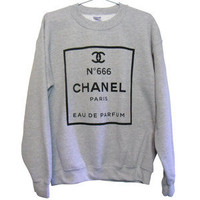 Evil Chic! Chanel no. 666 Unisex Sweatshirt | Black on Grey