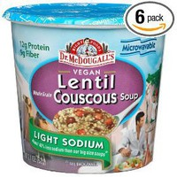 Dr. McDougall`s Right Foods Vegan Lentil Couscous Soup, Lower Sodium, 2.1-Ounce Cups (Pack of 6)...