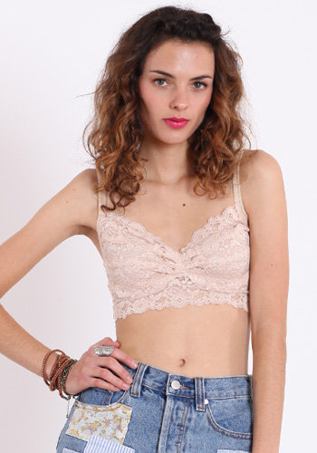 Underneath It All Lace Bralette in Light Peach