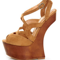 Privileged Sherman Tan Strappy Heelless Platforms - $85.00