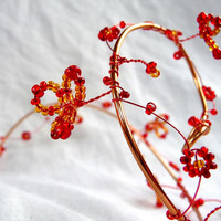 Copper and red hair vine, long, handmade