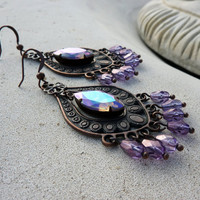 Lavender Jewel Boho Chandelier Earrings by lunarbelle on Etsy